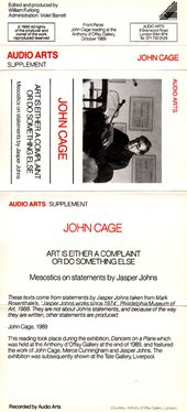 Audio Arts John Cage. Art is either a Complaint or do Something Else, Inlay 1