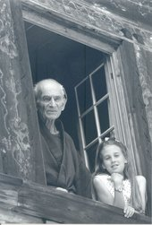 Balthus with Cybele in 1994 an elderly man and a young girl looking out of a window