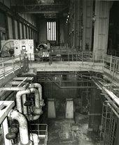 Interior shot of Bankside Power Station, black and white