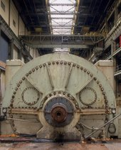 Close up of machinery in Bankside Power Station before plant removal, 1994