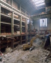 Interior view of Bankside Power Station during plant removal, 1995