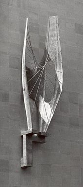 Barbara Hepworth Winged Figure installed on the John Lewis building April 1963