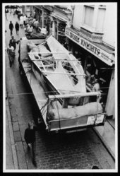 Barbara Hepworth Winged Figure prototype being transported along Fore Street on its departure from St Ives August 1962