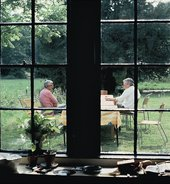 Bhupen Khakhar and Howard Hodgkin in Hodgkin's garden in Wiltshire, c1982, photo by Anthony Stokes
