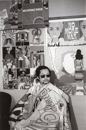Keiichi Tanaami wearing his Wonder Girl cloak in his studio, 1968