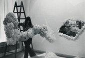 Jana Želibská installing her work Kandarya – Mahadeva in 1969