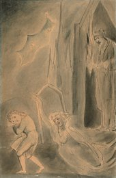 William Blake Churchyard Spectres Frightening a Schoolboy circa 1805