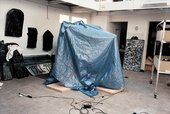 Christian Boltanski, blue tent in studio