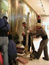 De-installation in Puerto Rico of Sir Edward Coley Burne-Jones' The Sleep of Arthur in Avalon.