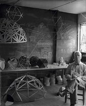 Buckminster Fuller in his classroom at Black Mountain College, photographed by Hazel Larson Archer, summer 1948