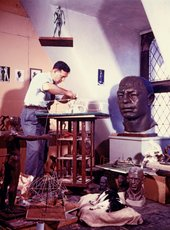 Joseph Brown working on model of play sculpture Whale Yard, c1954