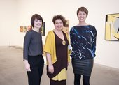 Assistant Curator Ann Coxon, Hala Choucair and Curator Jessica Morgan in Saloua Raouda Choucair exhibition at Tate Modern