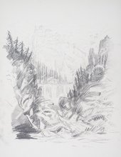 Chris Webster After Turner from Grenoble Sketchbook [Finberg LXXIV], Cascade of the Chartreuse 1802