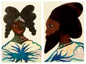 Chris Ofili Afromuses Couple 1995 to 2000 painting of an African man and woman in traditional dress