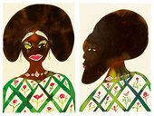 Chris Ofili Afromuses Couple 1995 to 2000 paintings of a African man and woman in traditional dress