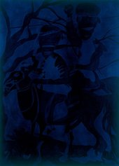Chris Ofili Blue Riders 2006 very dark painting depicting two men on horses