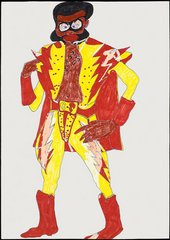 Chris Ofili Drawing for Captain Shit and the Legend of the Black Stars 1996 pencil drawing of a black man in a red and yellow costume and cape
