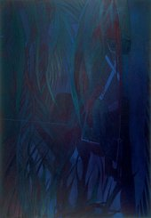 Chris Ofili Strangers from Paradise 2007 to 2008 a painting depicting a figure on a horse riding in the forest bearing a cross
