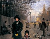 George Clausen A Spring Morning, Haverstock Hill 1881, painting of people along the street