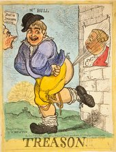 John Bull passes wind at a poster of King George III