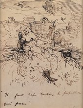 Charles Conder Dancer at the Moulin Rouge about 1891 Pen and ink on beige paper