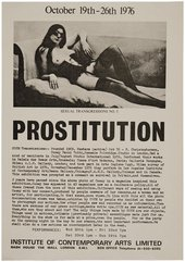 Handbill for COUM Transmissions Prostitution exhibition at the Institute of Contemporary Arts, London, October 1976