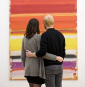 Couple on a Tour for Two at Tate Modern viewing Patrick Heron, Horizontal Stripe Painting : November 1957 - January 1958