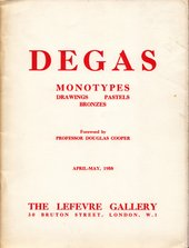Cover of Lefevre Gallery catalogue Degas Monotypes: Drawings, Pastels, Bronzes
