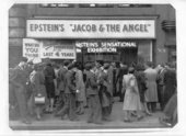 Crowds queuing to see Jacob Epstein's Jacob and the Angel on Oxford Street, c.1946