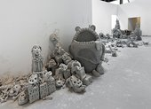 Installation view of Urs Fischer's clay project Yes! at Geffen Contemporary, Los Angeles, August 2013
