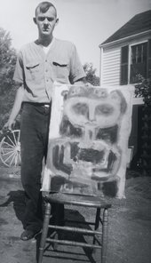Cy Twombly with unidentified work 1940s