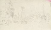 Turner View of the Hofpoort in Rotterdam 1833; sketchbook page