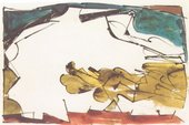 David Smith - Untitled (Study for Hudson River Landscape) 1950 Watercolor, egg ink and ink on paper