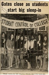 Cutting from the Daily Express reporting the student occupation of the Hornsey College of Art in May 1968 photography depicting female students behing gates on which is hung a banner