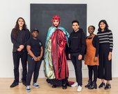 Young people from Tate Collective London and Circuit ambassador Daniel Lismore in front of painting Veil by Shirazeh Houshiary