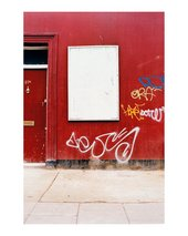 David Batchelor Stoke Newington London 20 09 02 photograph of an empty white poster board on a red building