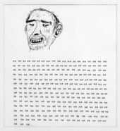 David Shrigley untitled 2000 drawing of a mans smiling face and the the text ha repeated underneath