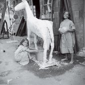 David Smith Rebecca (left) and Candida Smith modelling a plaster horse, Bolton Landing c.1961