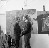 David Hockney and Derek Boshier, students together at the Royal College of Art from 1959 to 1962, in front of Hockney's We Two Boys Together Clinging, photographed by Geoffrey Reeve in 1962