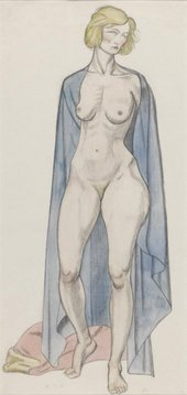 Sketch of a standing female nude with sheet draped around her shoulders