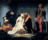 Paul Delaroche The Execution of Lady Jane Grey 1833, oil painting woman in white about to be executed