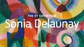 sonia delaunay written in white over one of her paintings
