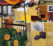 Dexter Dalwood Burroughs in Tangiers 2005 colourful painting of an interior