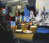 Dexter Dalwood Herman Melville 2005 painting of a laid dining table with lit candles