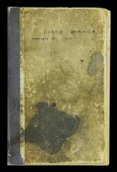Battered brown and ink stained front cover of the diary of Henry Scott Tuke 12 March 1899–31 December 1905