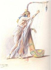 Pierre-Eugène Lacoste 'Harp Player' costume design (1879–1880) for the Paris Opening of Aida at the Opéra de Paris