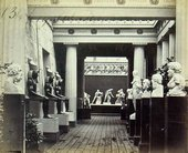 Period photograph of the passageway connecting the Greek, Roman and Egyptian courts at the Crystal Palace Sydenham c.1854–1936