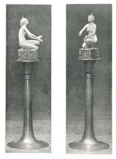 Period photographs showing original pedestal for Applause 1893