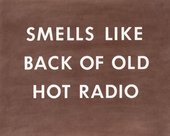 Ed Ruscha Smells Like Back of Old Hot Radio 1976 the title in white text on brown background