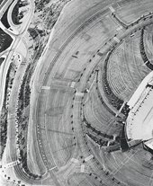 ed ruscha Thirtyfour Parking Lots in Los Angeles1967 aerial view of the car parks surrounding a stadium